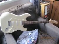 white customised fender squire strat iron stone p/ups cts pots cloth waxed wireing alder body