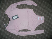 New Pink Women/ Ladies Plain, Long Sleeve Bodysuit/ Leotard/ Dancewear with snap crotch, size S/M.