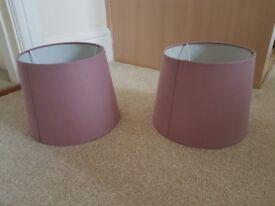 2 x Mauve/Purple lamp shades