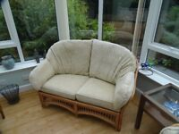 Conservatory Furniture - 2nr 2-Seater Sofas, 1 Armchair and two tables with glass tops.