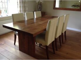 Large Dark Wood (Sheesham) Dining Table and Six Cream Leather Highback Chairs