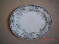 Large Oval Meat Plate Platter Ashet with Blue/Gray Edging. Perfect for your Christmas Turkey.