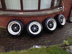 "Junk 86 4x100 16"" alloys 4 new tyres clio corsa Mx5 e30 civic glanza dish dished stance drift"