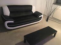 Brand new sofa black and white blend leather sofa