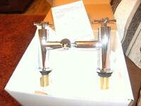 NEW CHROME BATH FILLER TAPS (PICS LOOK BRASS BUT ARE CHROME!!!)WICKES