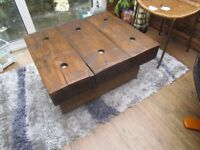++REDUCED++ NEW RUSTIC VERY CHUNKY SOLID WOOD HANDMADE VERY HEAVY COFFEE TABLE 29ins X 24ins X 15in