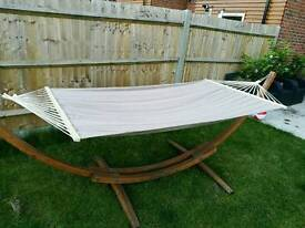 Hammock - cotton - grey - large - brand new - never been used -WOODEN STAND NOT INCLUDED