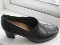Ladies Clarks Rosalyn Adele Black Leather Shoes size 7 E fit