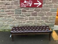 Brown leather Chesterfield style stool/ window seat * free furniture delivery *