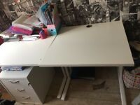 Double desk with set of 3 draws