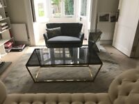 Modern Rectangular Black Glass and Metal Coffee table - BRAND NEW 130x70x46cm