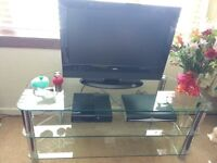 Glass tv unit and speaker stands