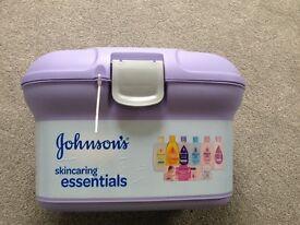 Johnsons filled tub - cream, shampoo, wipes all in storage tub brand new sealed