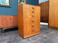 Teak Chest of 6 Drawers with Button Drawer Pulls. Retro Vintage Mid Century 1960s