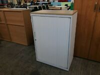 HERMAN MILLER WHITE TAMBOUR CABINET, OFFICE STATIONERY CUPBOARD. MORE IN STOCK