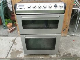 zanussi freestanding double oven cooker 60cm stainless steel colour,reconditioned clean condition