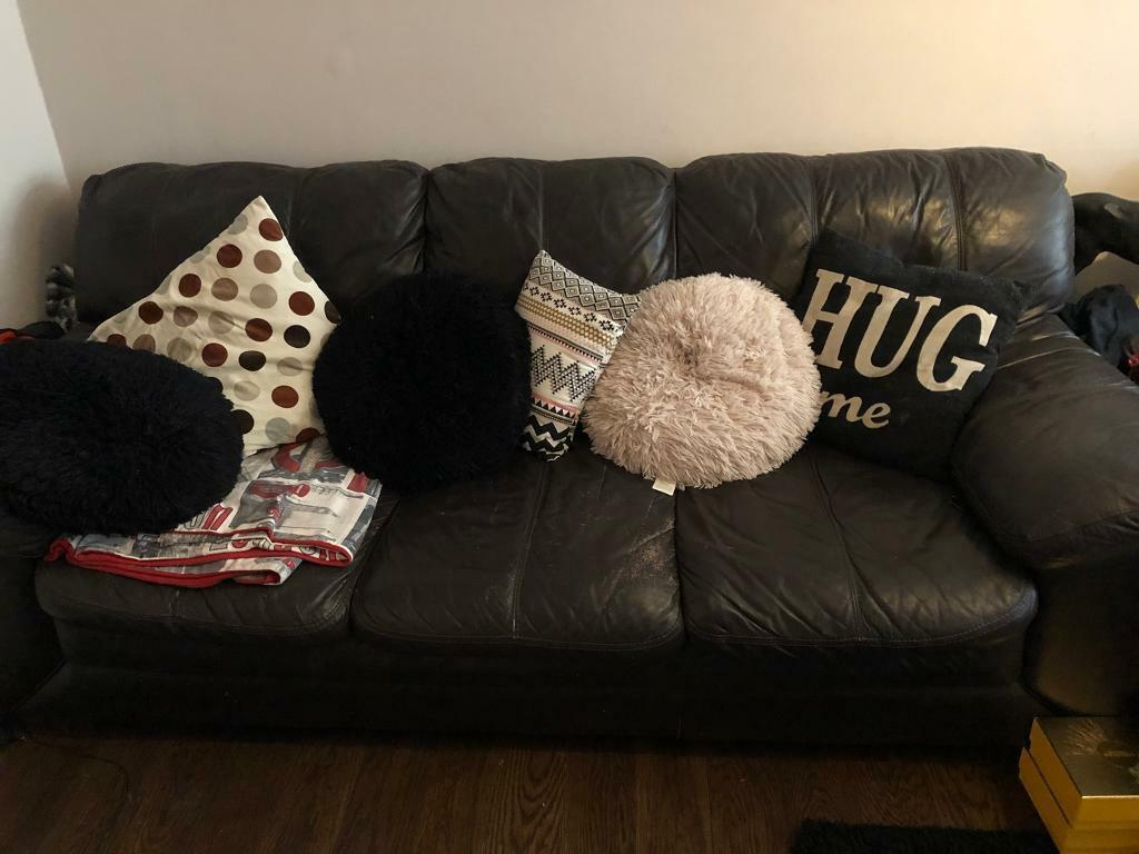 Comfy 3 Seater Leather Sofa for Sale
