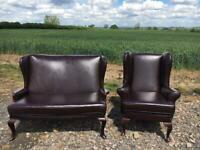 Chesterfield Queen Anne Sofa and Wing back Chair