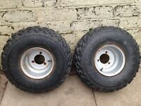 Quad wheels and tyres x2