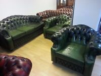 Lovely green leather high quality Three setter and 2 club chair chesterfield. very good condition.