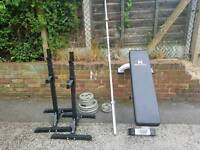 7ft Olympic bar, squat stands and bench