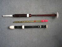 3 MUSICAL INSTRUMENTS = BAGPIPE CHANTER, RECORDER AND TIN / PENNY WHISTLE.