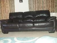3 seater & 2 seater leather sofa with puffet