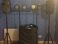 Full DJ set up including 4x lights,amp,mixer,speakers,stand & cables