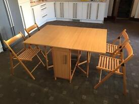 Compact Folding Table + 4 Chairs Good Condition