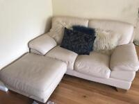 DFS cream leather suite, 3 seater couch, 2 seater couch and footstool. Perfect condition.