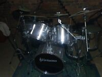 Virtuoso Six Piece Chrome finished Drum Kit Including all hardware and Cymbals as pictured