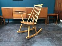 Goldsmith Windsor Rocking Chair in Elm and Beech by Ercol. Retro Vintage Mid Century