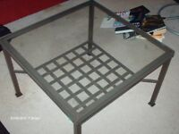 Glass and cast iron coffee table (from ikea)