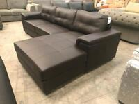 Brand new brown leather chaise corner sofa