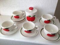 Art Deco Italian 5 Piece Coffee Set and Sweetener Bowl.