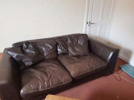 2 seater leather sofa, matching leather cushions and matching leather chair! Great condition!