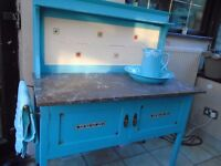 SHABBY CHIC DUCK EGG BLUE COLOR WASH STAND WITH MARBLE TOP.