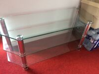 Clear glass 3 tier TV stand, high quality, cost £140 nice price of furniture glass and crome