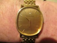 9ct.Solid Gold Mens Bueuche Girod Quartz Wristwatch on a 9ct.Solid Gold Bracelet