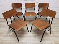 Five Vintage Stacking Chairs (DELIVERY AVAILABLE)