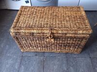large wicker storage trunk