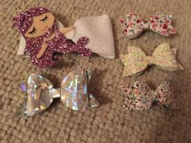 Little girls set of 5 bows including purple mermaid