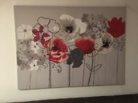 Next Red and Grey Floral Canvas