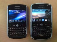 2 Blackberry Phones - Curve 8900 & Bold 9900 Smart Phones both on O2, Brand New Batteries