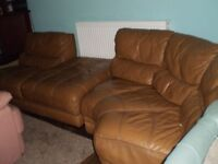 Sofa Genuine Leather .Color Dark Mustard.Good Condition