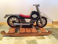Handcrafted motorcycle rocking toy