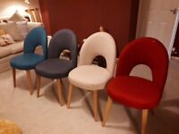 4 x Dining Chairs fully upholstered with light oak legs