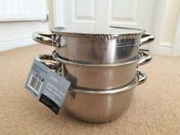 Tesco Stainless Steel 20cm 3 Tier Steamer with Glass Lid – Brand New