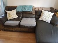 3 seater corner chocolate brown leather couch. FREE