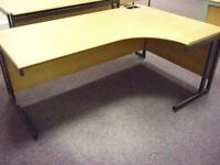 1 x Light Oak Finish Solid Wood Right Hand Curved Office Desk